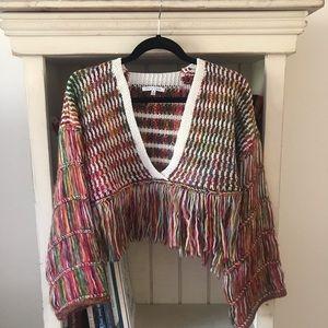 Fringe cropped sweater